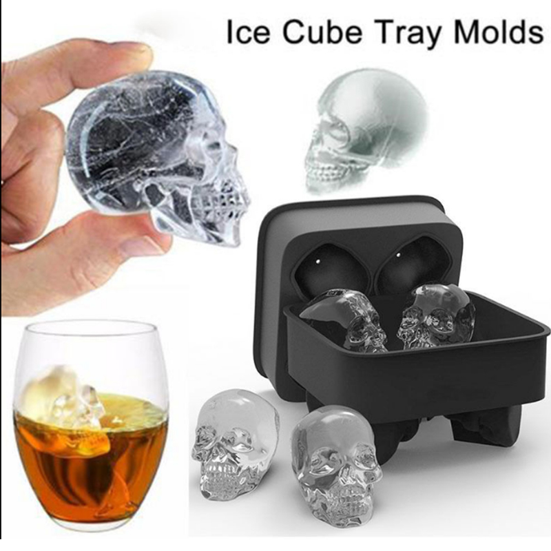 Halloween Silicone Skull Ice Cube Tray Mold Ice Cream Chocolate Cake Baking Makers Party Supplier Barware Drinking Cooling Tools