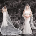 Bridal veil ultra long 3 meters train lace wedding dress formal dress accessories