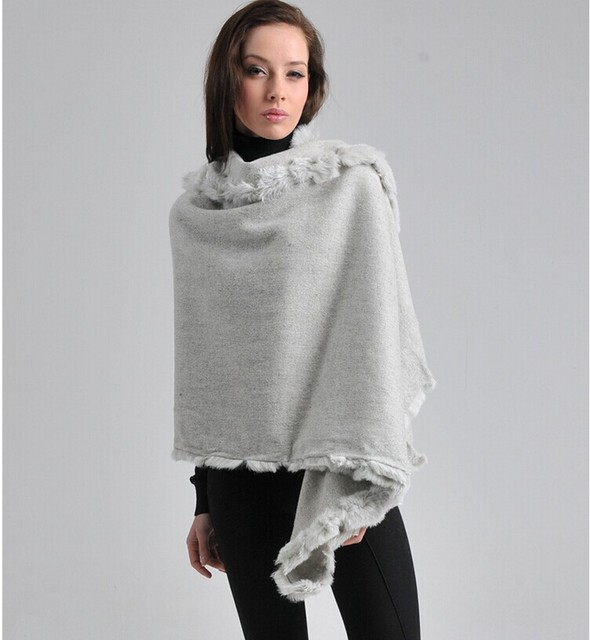 Light Gray Women's 100% Wool Rabbit Fur Cape Scarf Classic  Pashmina Shawl Solid Color Stole Poncho 180 x 70cm C054