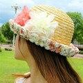 Nuevas mujeres con estilo de moda de verano de encaje flor rota redonda y plana playa casquillo de la paja sombreros de Sun para la señora