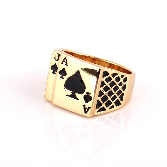 Ajogem taille 8/9/10/11.5/12.5 Design classique Cool émail noir coeur Anel couleur or Poker anneau hommes