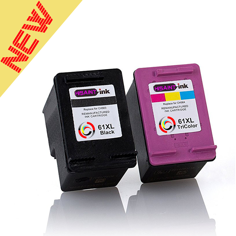 Hot 2pk for HP 61XL Remanufactured Ink Cartridge BK&TRICOLOR for HP Deskjet 1000 1050 1055 2000 2050 2512 3000 J110a J210a J310a 2pk for hp 61xl remanufactured ink cartridge bk