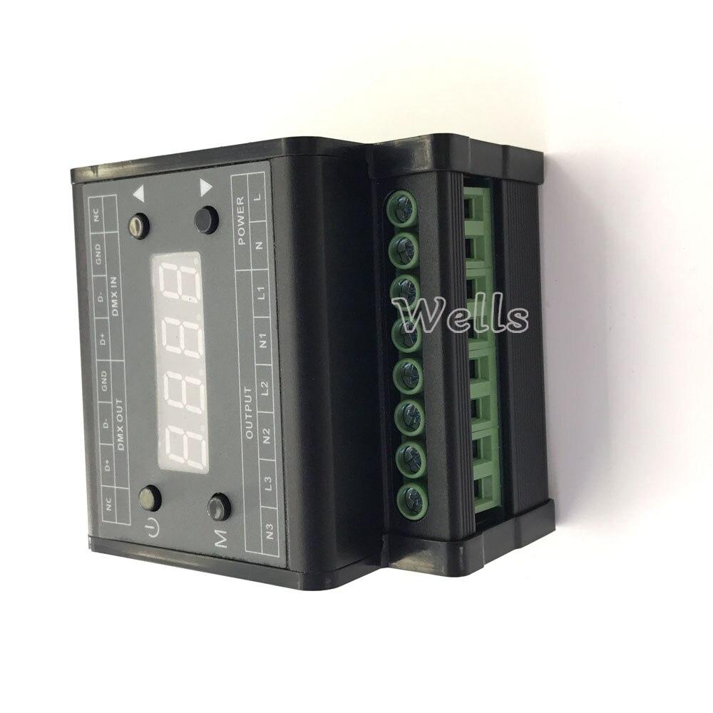 DMX302 led DMX triac dimmer brightness controller AC90V-240V Output 3channels 1A/CH High voltage led dimmer for led panel light