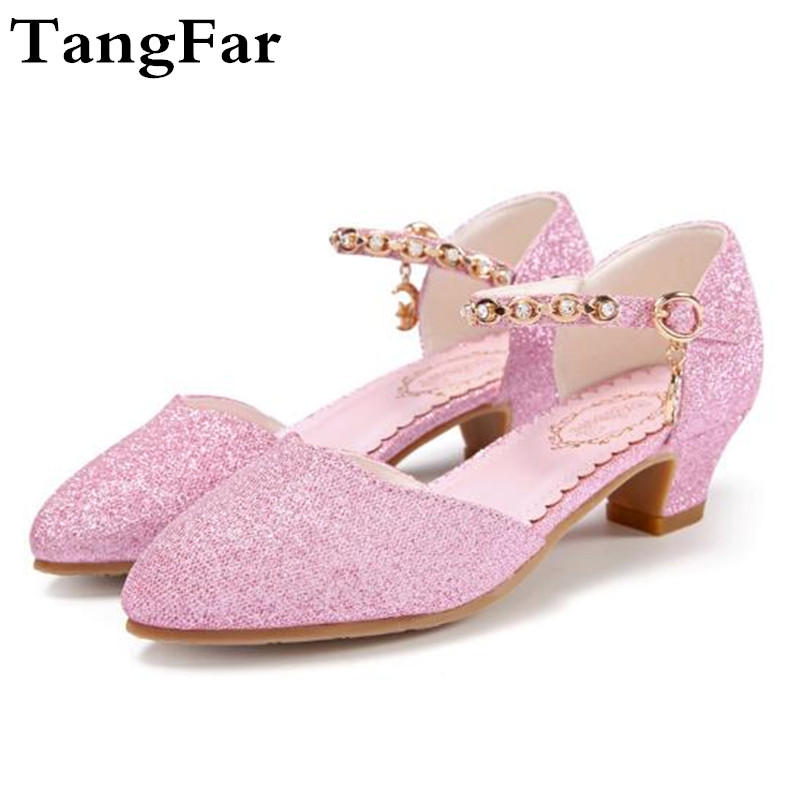 Rhinestone Shoes Girls Pointed Toe Dance Sandals High Heel Buckle Crystal Children  Shoes Leather Wedding Shoe 80a9f7fc2069