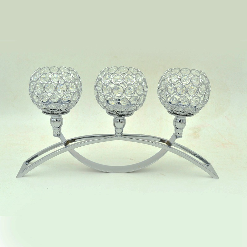 Silver Crystal Candelabra for Wedding Table Centerpieces Tealight Cheap Candle Holder for Christmas Halloween Home Decoration
