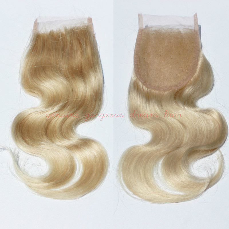 #613 Blonde Lace Closures bleached knots 4*4inches size free style 8a unprocessed Peruvian hair blonde lace closure body wave