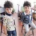 Мальчики Цветочные весной и осенью рубашка 2016 ребенок мужского пола с длинными рукавами рубашка большой мальчик ребенок ребенок 100% хлопок рубашка тонкий моды v-образным вырезом