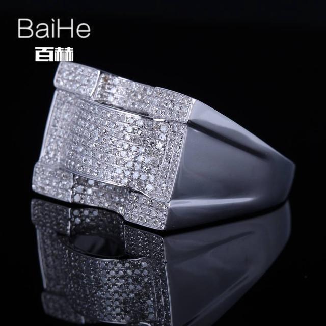 BAIHE Solid 14K White Gold(AU585) 1.2CT Certified H/SI Round Cut Genuine Natural Diamonds Wedding Men Trendy Fine Jewelry Ring