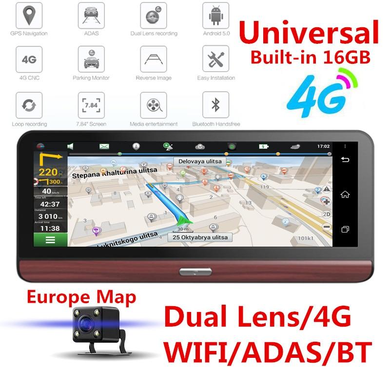 4G double lentille voiture DVR tableau de bord caméra GPS Navigation Android Bluetooth chargeur de voiture Wifi avec carte de l'europe