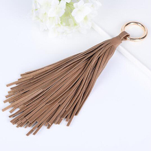 Leather Pendant Ring Tassel Keychain