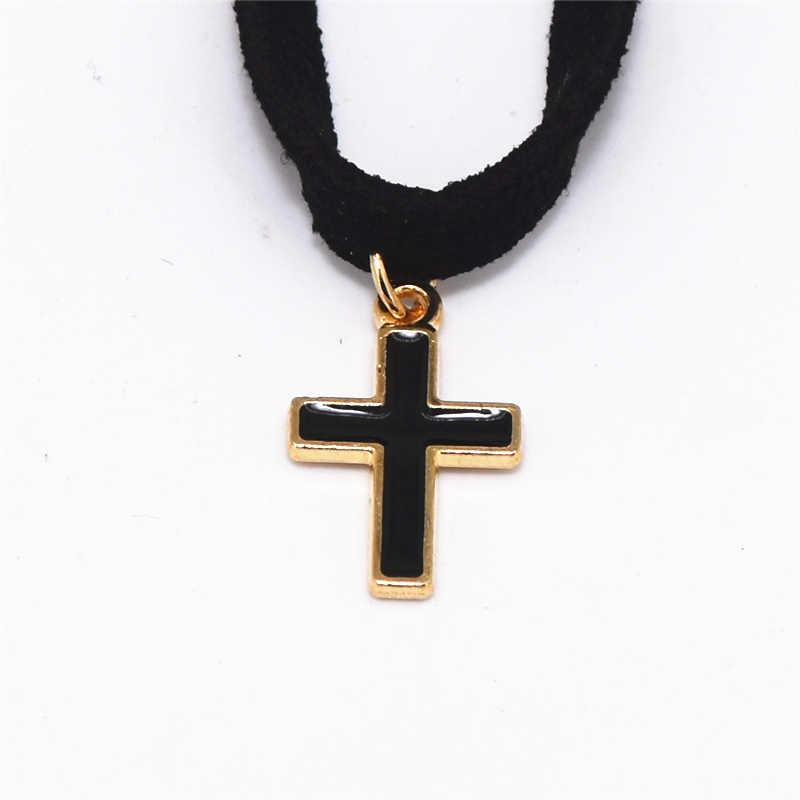 2019 New Arrivals Fashion Zwart Fluwelen Lederen Bijoux Collares Collier Zwarte Cross Hangers Chokers Kettingen Voor Vrouwen Sieraden