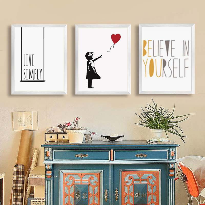 Haochu nordic wall art canvas painting life quotes art print wall pictures for living room for Wall art quotes for living room