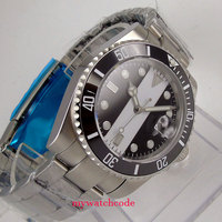 40mm bliger black white sterile dial GMT stainless steel strap Ceramic Bezel sapphire glass automatic mens watch B102