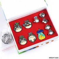 10 Pcs Set Anime Totoro Cosplay Finger Ring Necklace Keychain Metal Core Gifts Box Packing