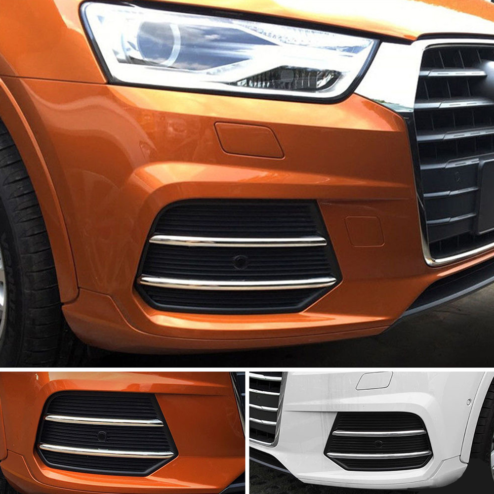 4pcs/Lot Chrome Car Front Fog Lamp Decorative ABS Trim Strip For Audi Q3 2016 2017 Exterior Accessories Modified Stickers цена