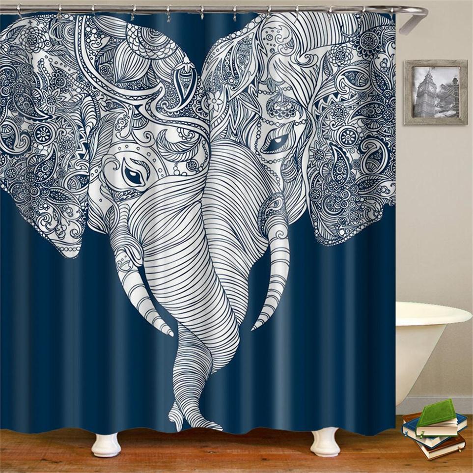 Cute Bohemian Elephant Shower Curtain Elephant Themed Love Bathroom Bath Curtains White and Navy Blue Elephant