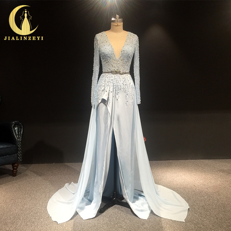 JIALINZEYI Real Sample Long Sleeves Sky Blue Beads Satin Luxurious Dress For Party Evening Dresses