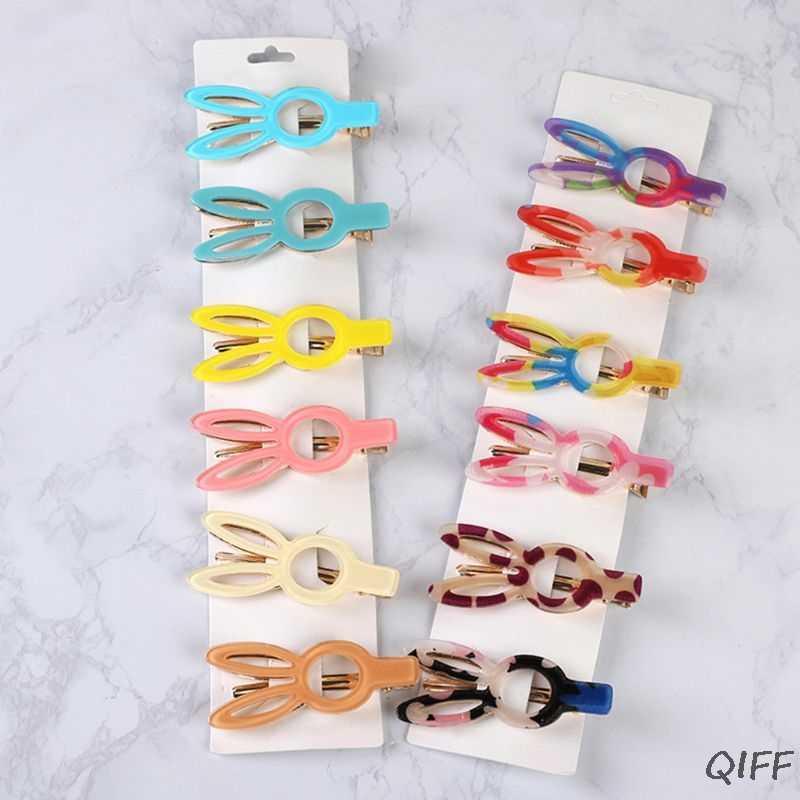 27 цветов корейские цветные сладкие конфеты ацетат заколка для волос для женщин девушки сторона челки полые длинные уши кроликов Заколка-Утконос