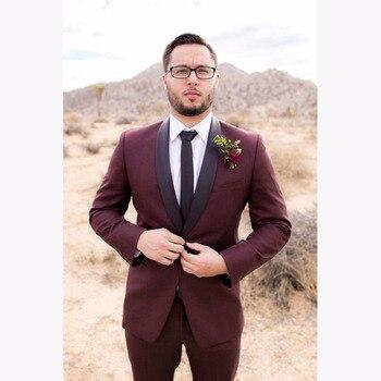 2020 Classic Shawl Black Mens Suits Tuxedos Bridegroom Wedding Suit Formal Celebrity Men Tuxedos Burgundy