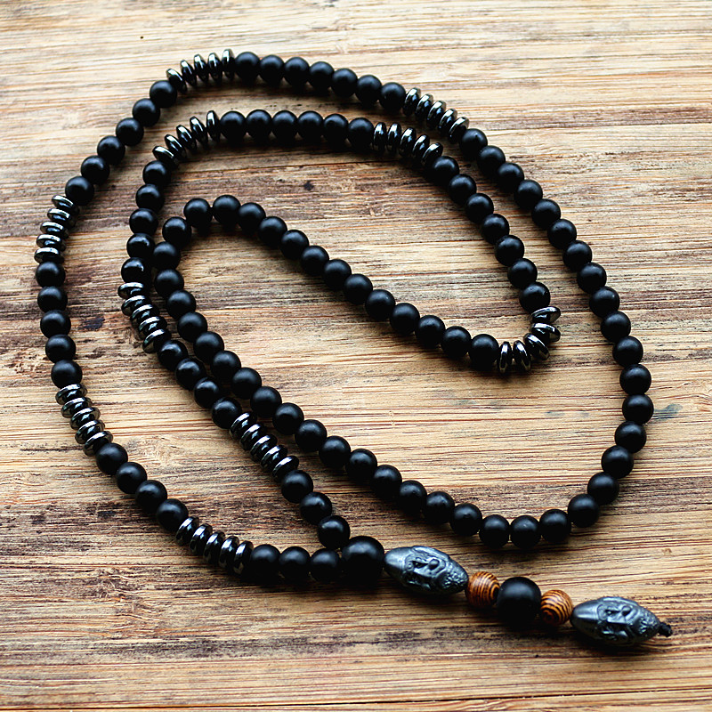 New Design Black Men's Hematite Carving Bead Necklace Fashion Jewelry