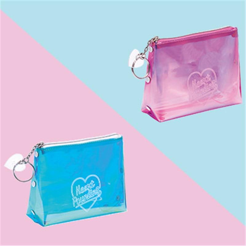 Women Portable Letter Print Laser Transparent PVC Cosmetic Bag Travel Storage Pouch Makeup Bags 3