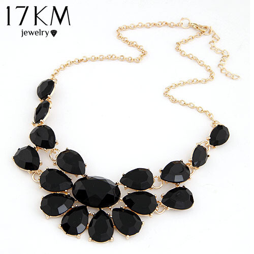 17KM Fashion lady Banquet Accessories multicolour acrylic gem choker necklace Pe