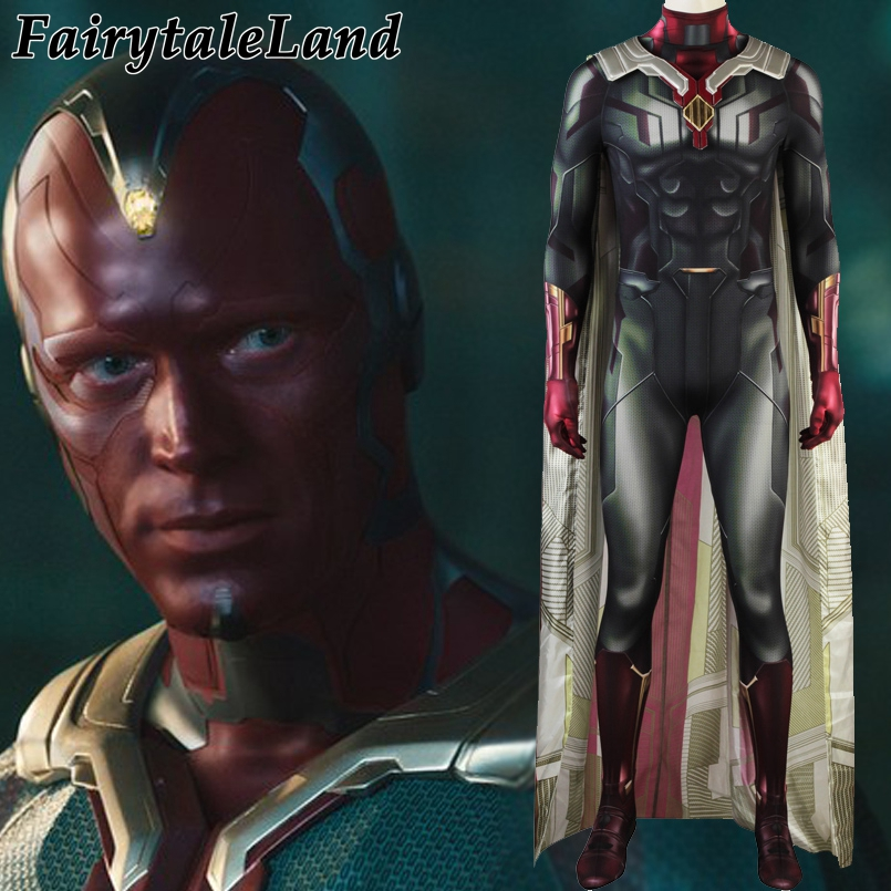 Avengers Infinity War Vision Cosplay Costume Halloween Costumes for Adult Men Superhero Spandex Jumpsuit Vision Costume