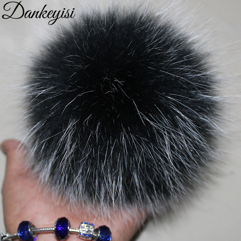 Fluffy Real Fox Fur Pompoms With Button 13-15cm DIY Fox Fur Pom Poms Balls Natural Fur Pompon For Scarves Hats Bags  Accessories
