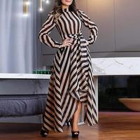Elegant maxi dress women Long sleeve high waist summer dress 2019 Striped print office dresses Irregullar long vestidos de festa