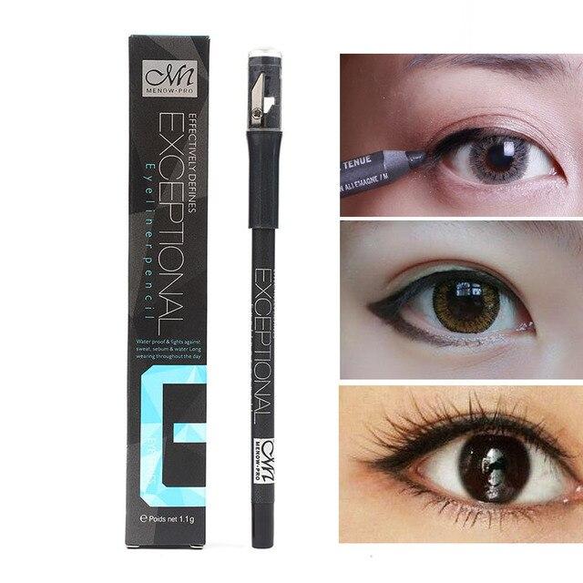 Menow solid eyeliner pencil with sharpener waterproof long lasting black eyeliner gel soft smooth matte eye liner MN053