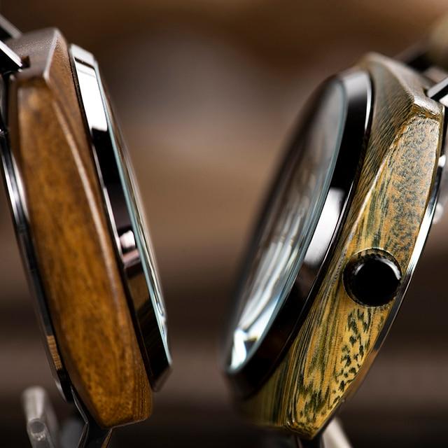 Montre homme BOBO oiseau en bois Quartz montre bracelet homme Saat erkek montres montre Date semaine créer horloge en bois boîte relogio masculino 4