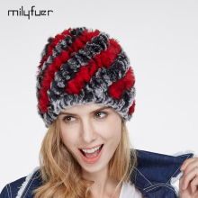 Milyfuer Real Rex Rabbit Fur Hats Female Hair Fashion Fur Caps Autumn Winter Keep Warm Ear Cycling Cap Knitted Hat For Women Cap