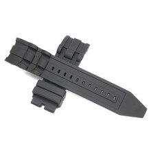 1fdd8d19144 26mm Preto dos homens de Luxo Pulseira de Borracha de Silicone Pulseira  Relógio Pulseira de Relógio de Substituição Cinta Sem Fi.