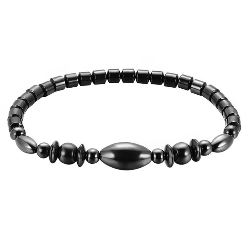 1Pc Weight Loss Round Black Stone Magnetic Therapy Anklet Health Care Magnetic Hematite Stretch Anklet For Men Women Jewelry 13