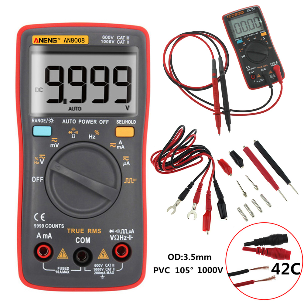 ANENG AN8008 True RMS Digital Multimeter 9999 Counts Square Wave Backlight AC DC Voltage Ammeter Current