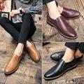 Estilo coreano Primavera Cor Deslizamento Sapato de Couro Ocasional Urbana Sapato homens De Negócios Casuais Homens Bullock Esculpida Brogue Sapatos de Couro sapato