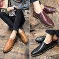 Korean Style Spring Color Slip On Urban Casual Shoe Leather Men Business Shoe Casual Carved Leather Brogue Shoe Men Bullock Shoe