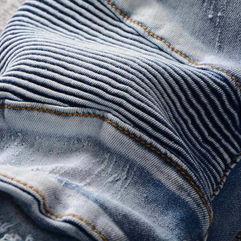 De Classique Jeans Biker Droite Mode Conception Stretch Nouveau Casual Bleu Denim Cadrage Skinny Hommes Déchiré Sw5qta