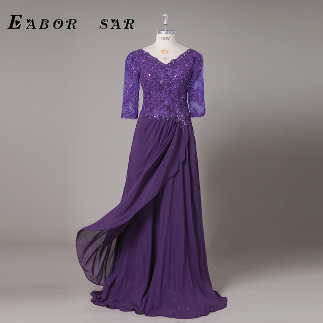 e51f9f02b5 US $69.0  Plus Size Mother Of The Bride/Groom Dresses with Sleeve Appliques  Beading Chiffon Ladies Evening Dress Mom Gown-in Mother of the Bride ...