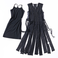 2018 Summer Autumn New Dress Suits Women Hollow Out Crystal Sleeveless Vest Two Piece Dress Sexy Lace Tassel Vest Dress