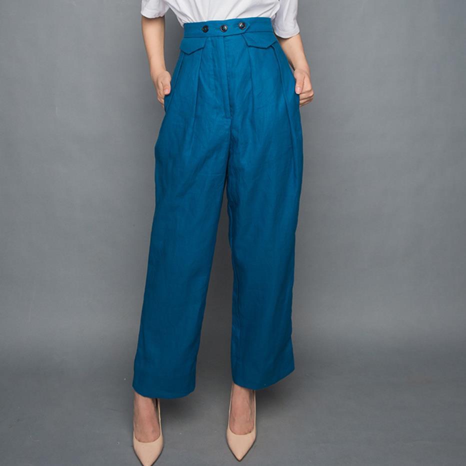 2019 Summer fashion women cotton linen   pants   three buckle high waist ankle length loose   wide     leg     pants