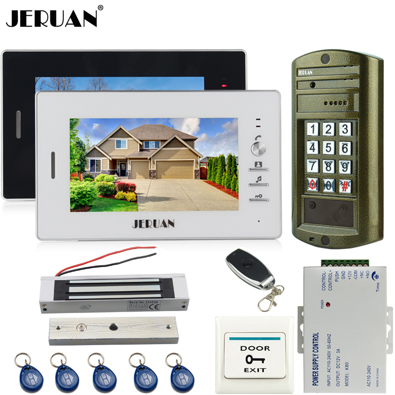 JERUAN 7 inch Video Door Phone Intercom System kit 2 Monitor+Metal panel Waterproof Access Password keypad HD Mini Camera 1V2 jeruan 8 inch video door phone high definition mini camera metal panel with video recording and photo storage function