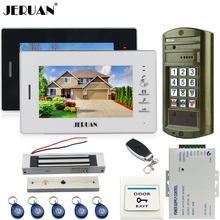 JERUAN 7 inch Video Door Phone Intercom System kit 2 Monitor+Metal panel Waterproof Access Password keypad HD Mini Camera 1V2