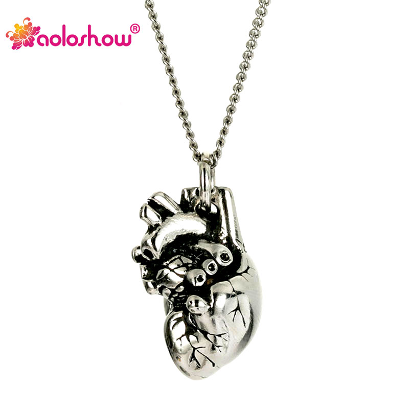 Stainless Steel Silver Polished Tiny Simple 3D Heart Necklace Maxi Long Chain Necklaces Jewelry for Women Cute Jewelry NL25846
