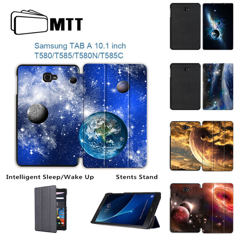 MTT Slim Trifold Leather Case For Samsung Galaxy Tab A A6 10.1 2016 T580 T585 T580N T585N Cover Funda Tablet Printing Space Skin