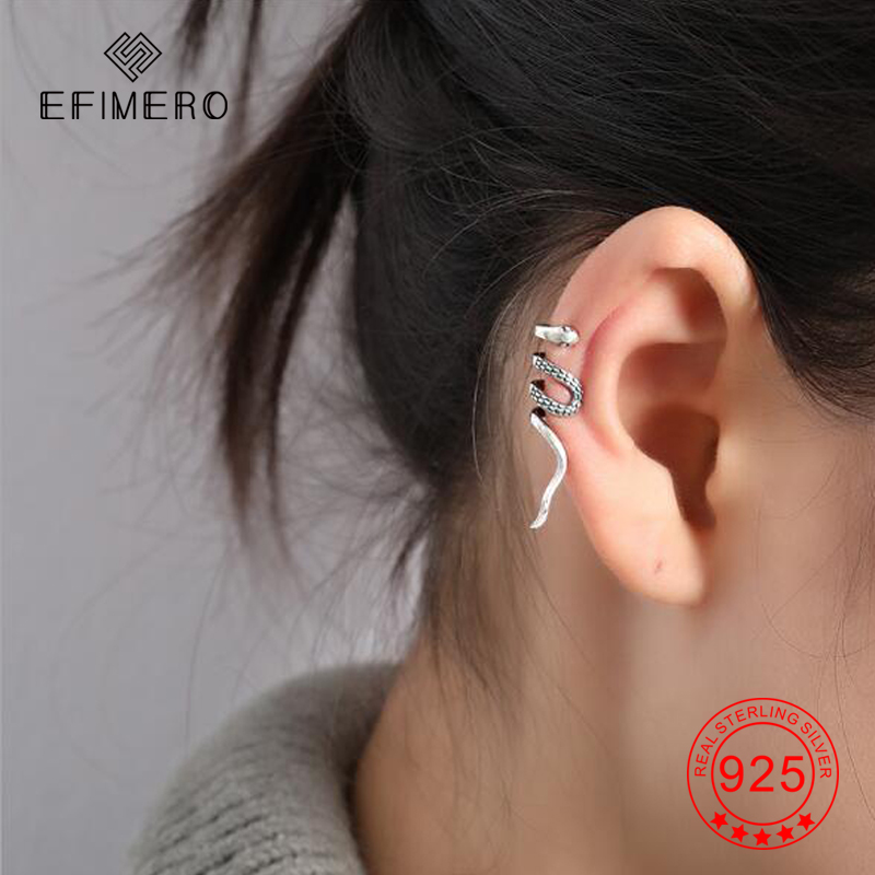1x 925 Sterling Silver Round Double Ring Clip-on Ear Wrap Cuff Earring