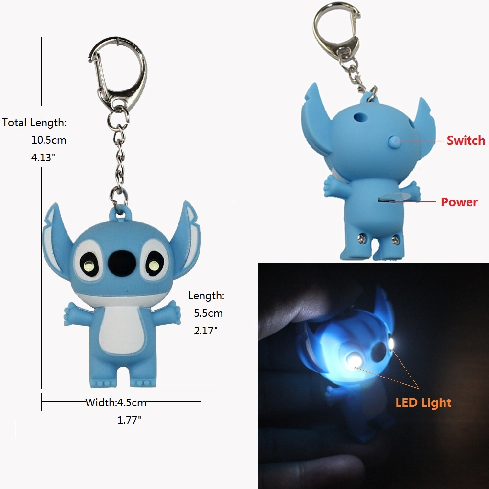 Plastic ornament hooks - 3d Stitch Portable Pocket Led Light Hanging Decorative Ornament Pendant Keychain Hook Business Christmas Gift