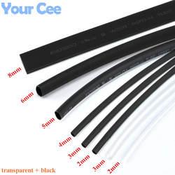 1 лот термоусадка кембрик термоусадочный трубки прозрачный + черный изоляции рукава провод изоляция для кабеля комплект 6 Размеры 2 мм/3 мм/4