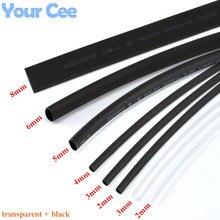 1lot Heatshrink Heat Shrink Tube Transparent + Black Insulation Sleeves Wire Wrap Cable Kit 6 Size 2mm/3MM/4MM/5MM/6MM/8MM