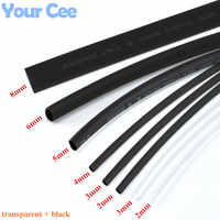 1lot Heatshrink Heat Shrink Tube Transparent + Black Insulation Sleeves Wire Wrap Cable Kit 6 Size 2mm/3MM/4MM/5MM/6MM/8MM